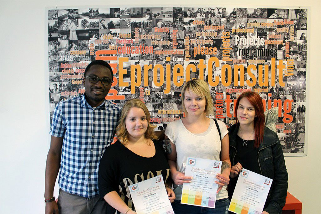 eprojectconsult certificates for three girls traineers