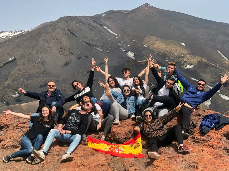 EProjectConsult spanish students at Mount Etna visit
